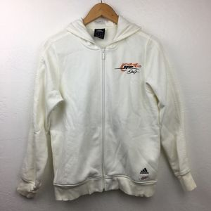 Adidas White Dale Jr Zip Up Hoodie Nascar